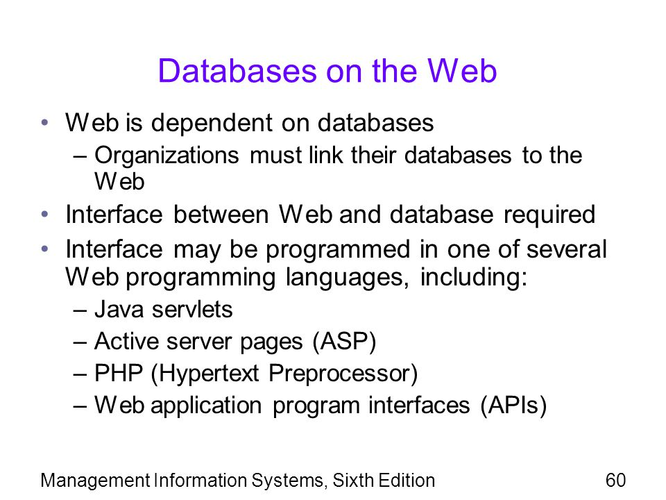 Databases on the Web Web is dependent on databases