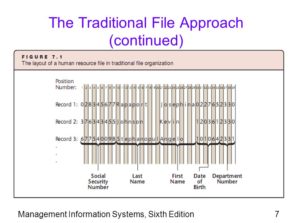 The Traditional File Approach (continued)