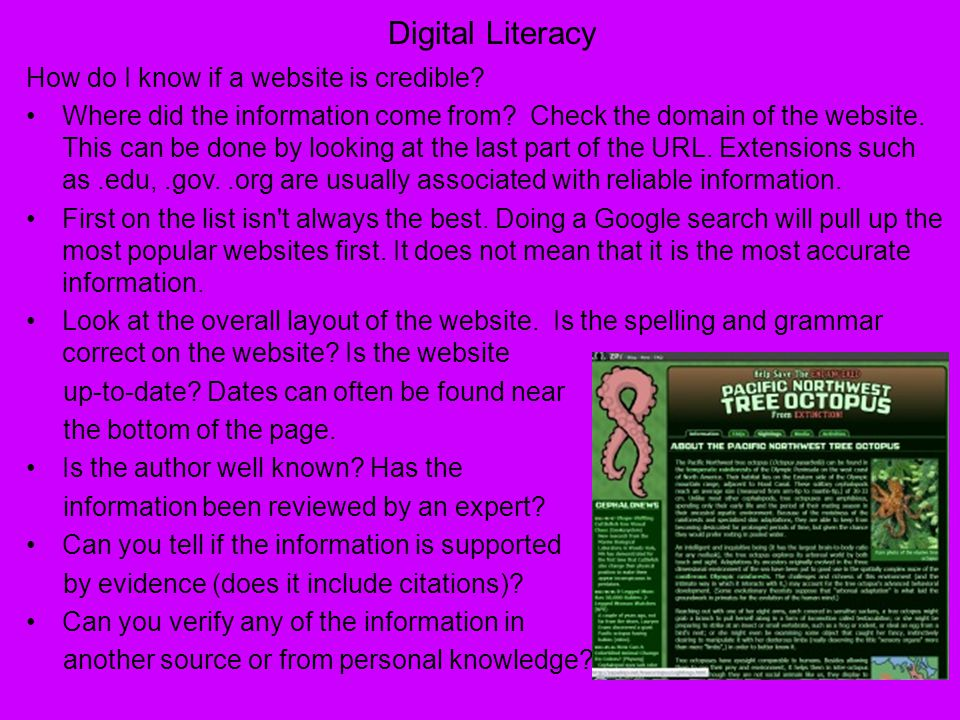 Digital Literacy How do I know if a website is credible