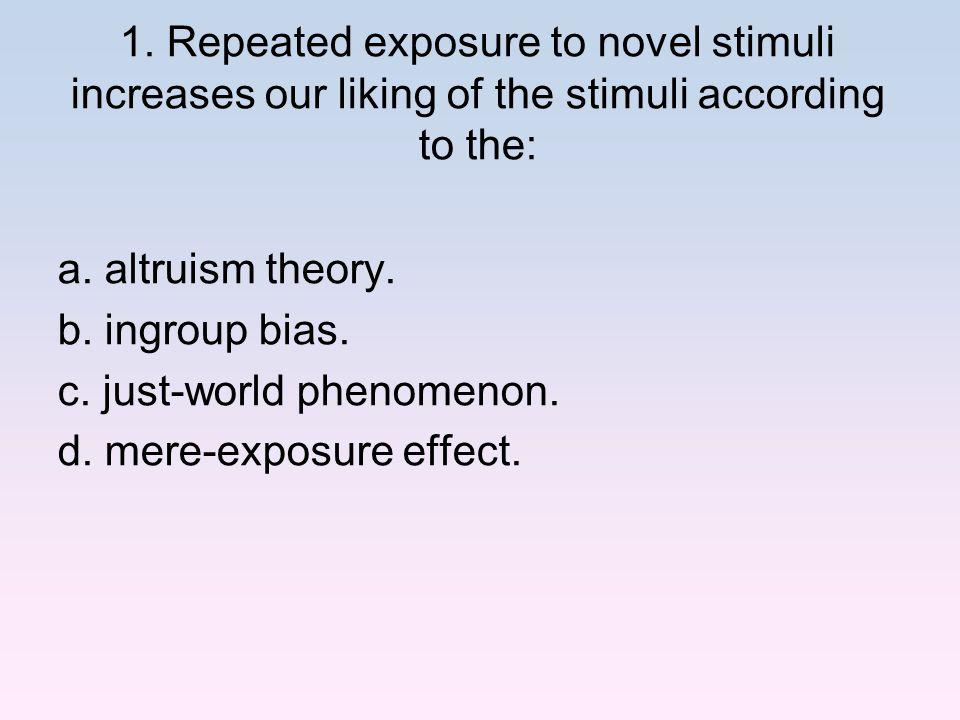c. just-world phenomenon. d. mere-exposure effect.