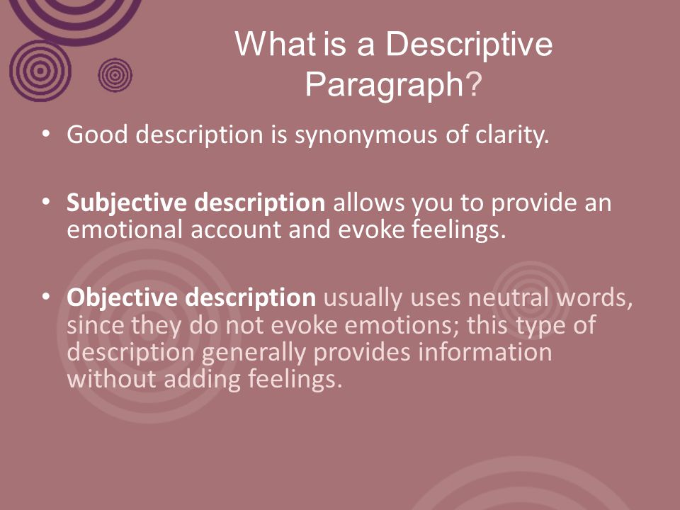 how to write a good descriptive paragraph