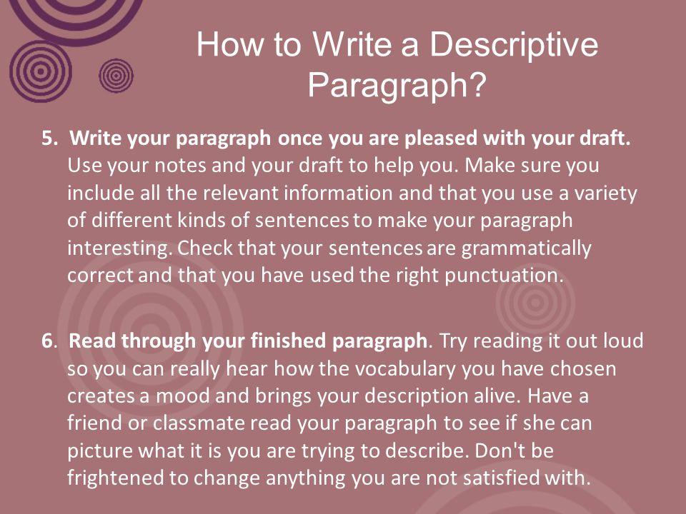 How to Write a Descriptive Paragraph