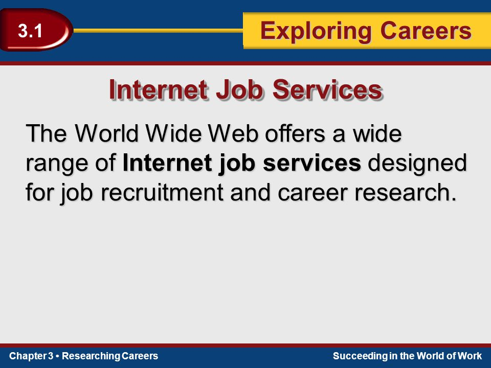 Internet Job Services The World Wide Web offers a wide range of Internet job services designed for job recruitment and career research.