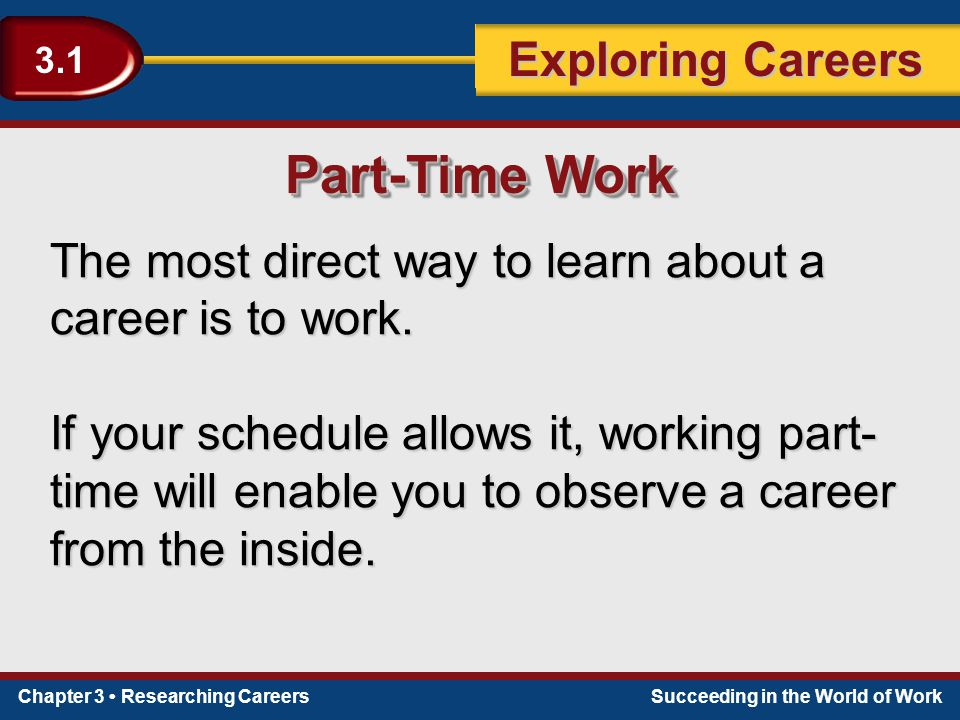 Part-Time Work The most direct way to learn about a career is to work.