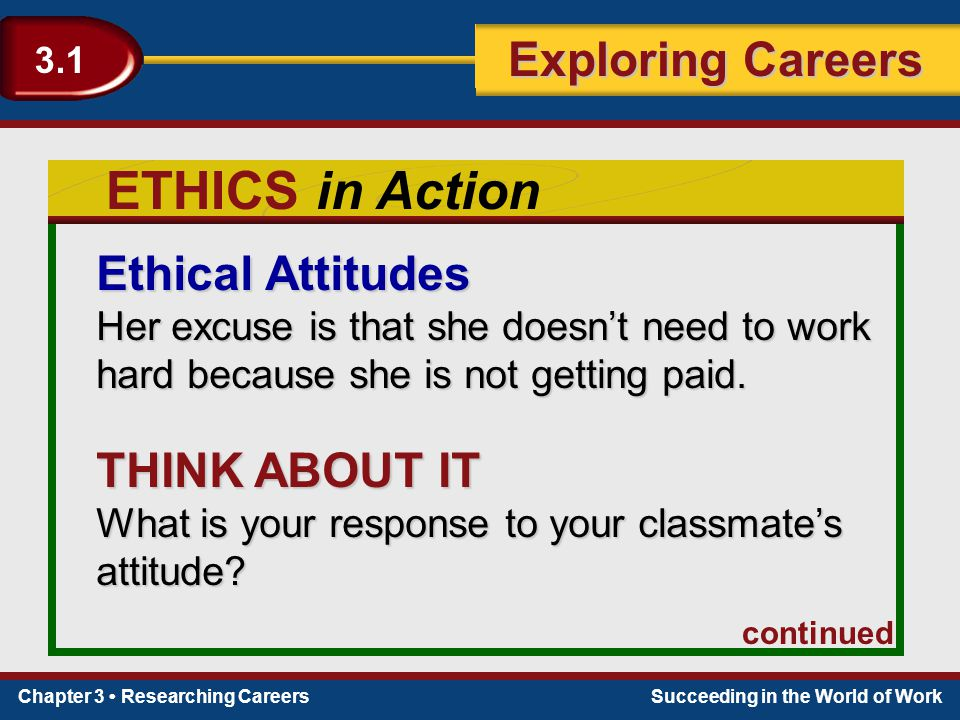 ETHICS in Action Ethical Attitudes THINK ABOUT IT