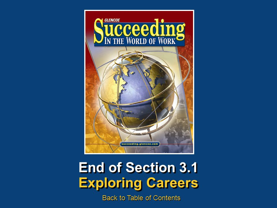 End of Section 3.1 Exploring Careers