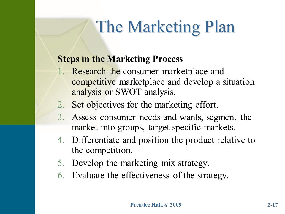 The Marketing Plan Steps in the Marketing Process
