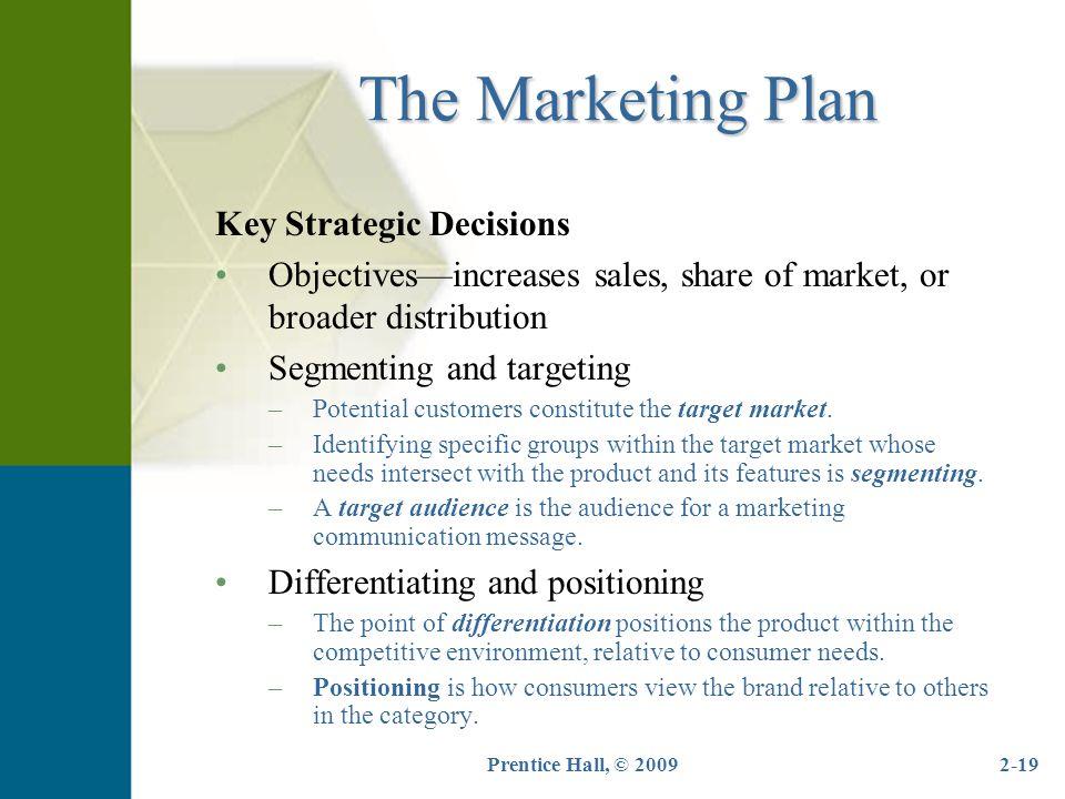 The Marketing Plan Key Strategic Decisions