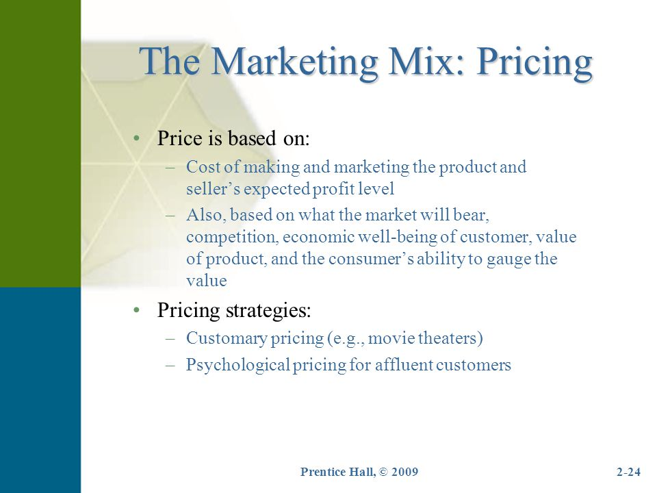 The Marketing Mix: Pricing