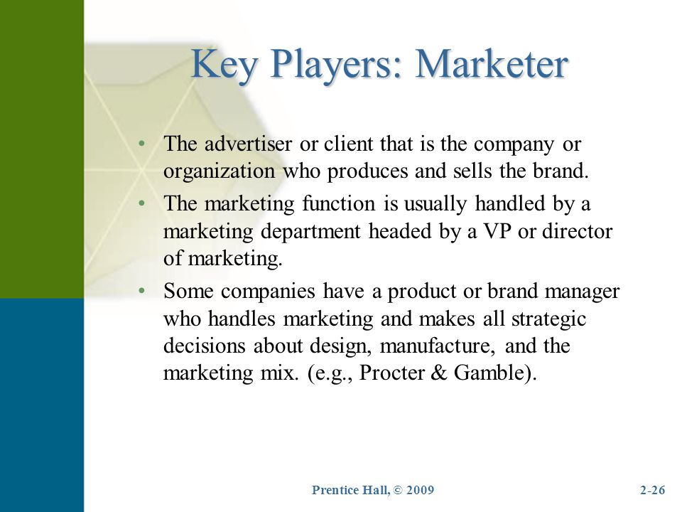 Key Players: Marketer The advertiser or client that is the company or organization who produces and sells the brand.
