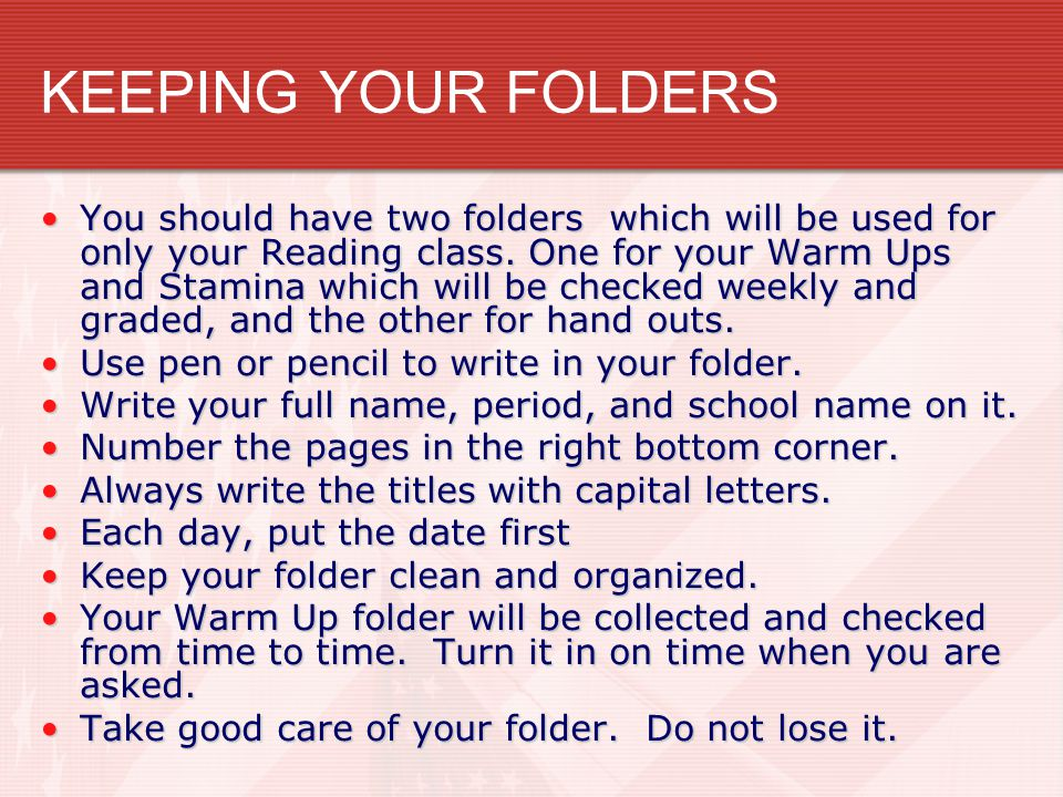 KEEPING YOUR FOLDERS