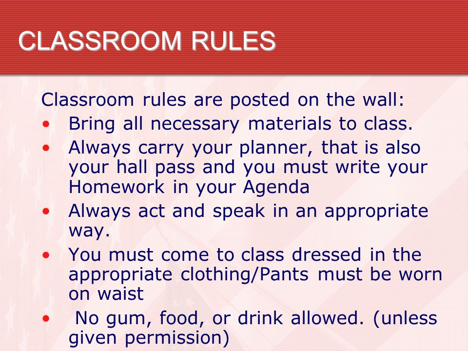 CLASSROOM RULES Classroom rules are posted on the wall: