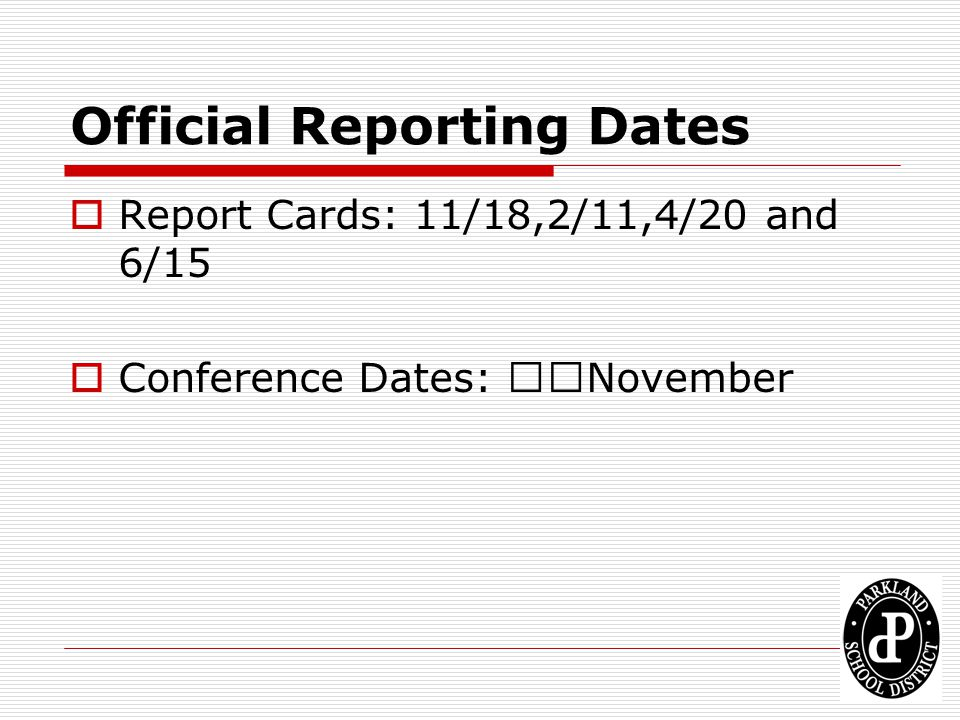 Official Reporting Dates