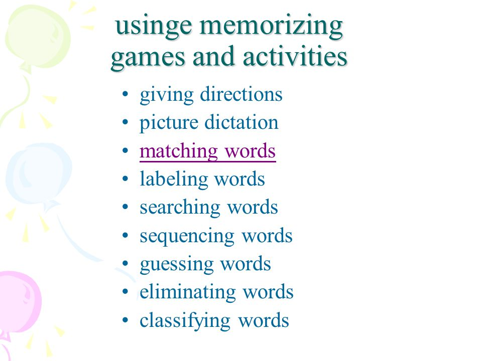 usinge memorizing games and activities