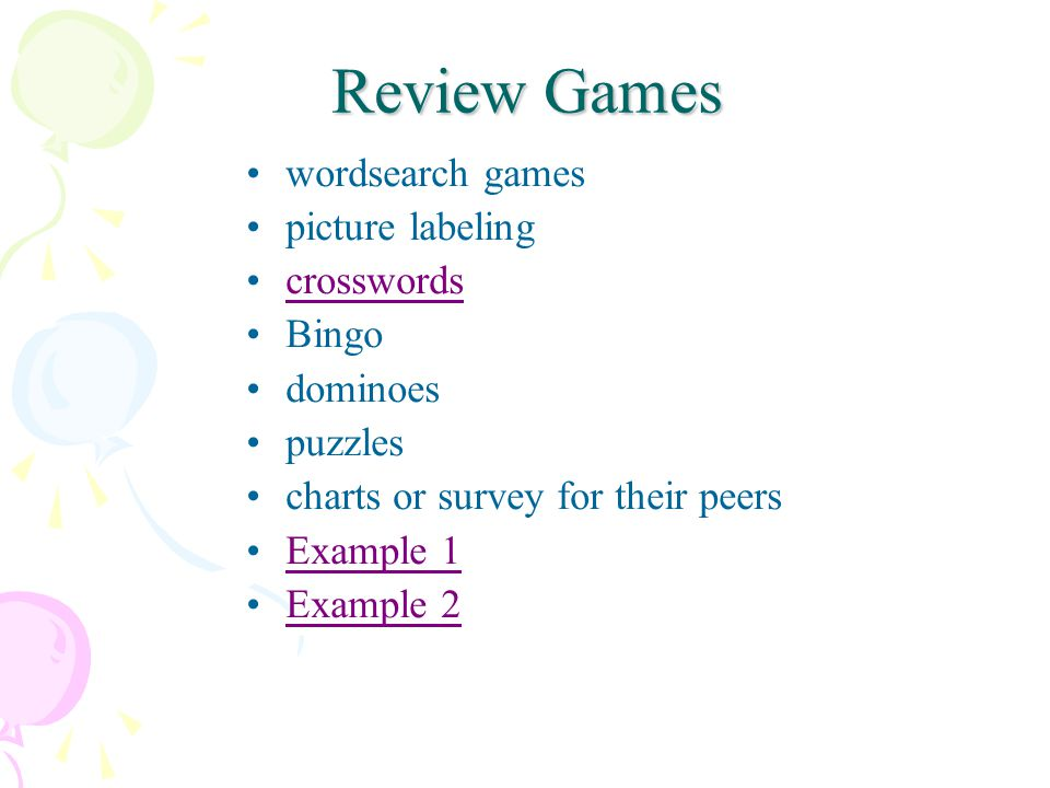 Review Games wordsearch games picture labeling crosswords Bingo