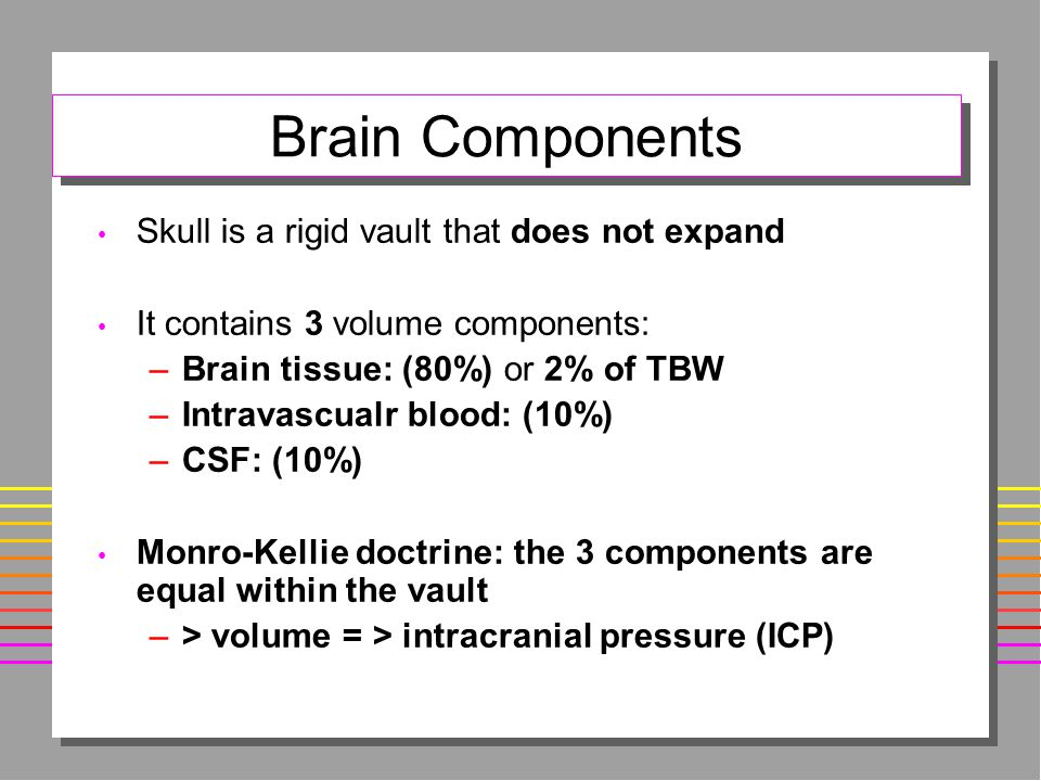 Brain Components Skull is a rigid vault that does not expand