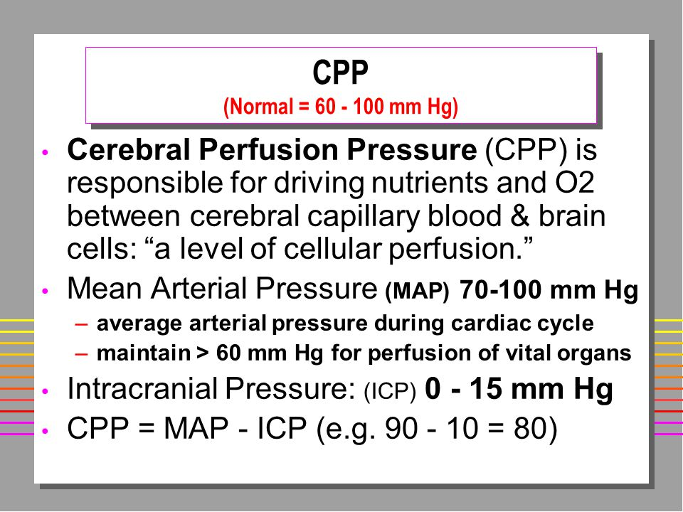 CPP (Normal = 60 - 100 mm Hg)