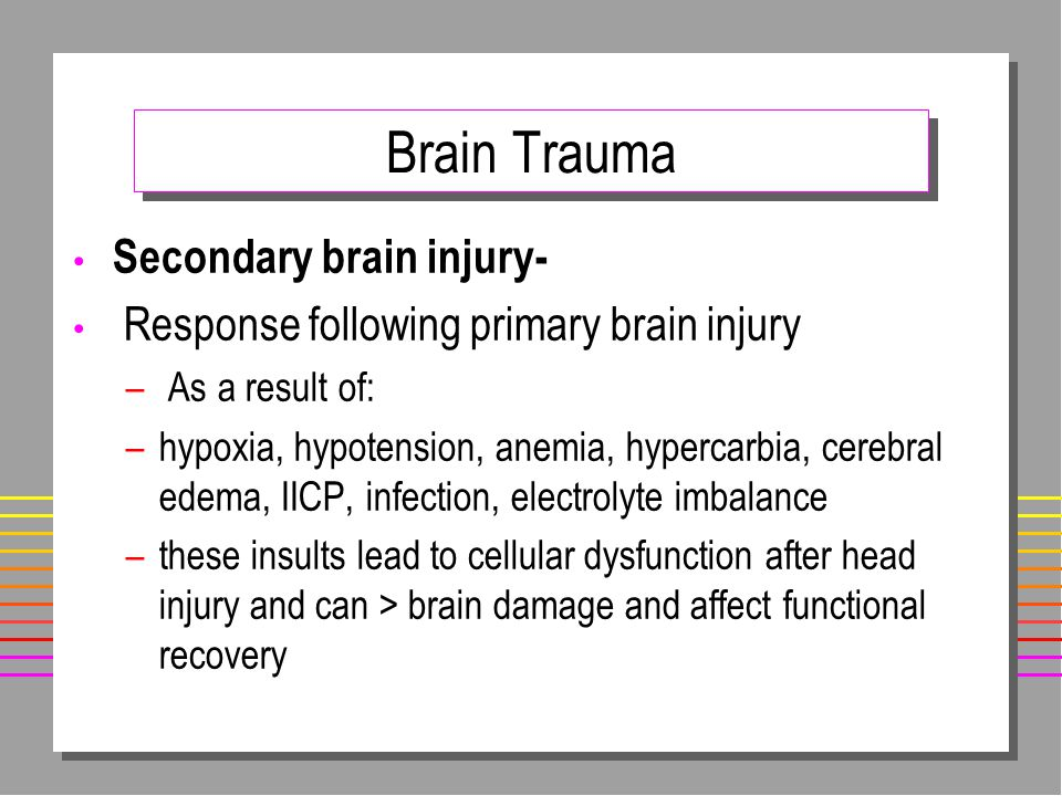 Brain Trauma Secondary brain injury-
