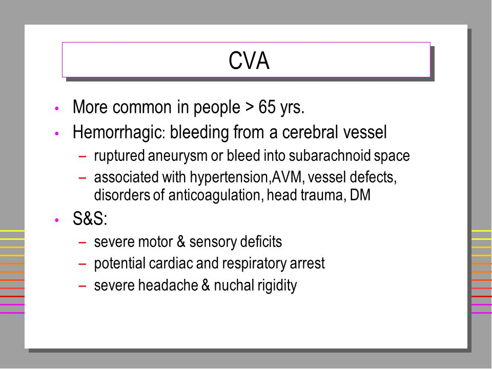 CVA More common in people > 65 yrs.