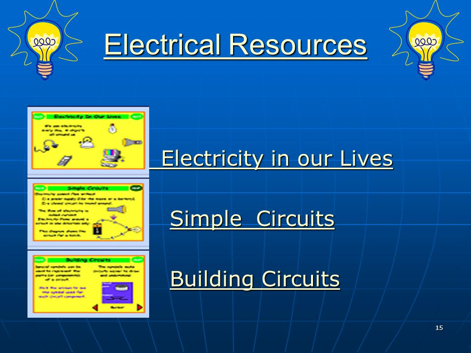 Electrical Resources Electricity in our Lives Simple Circuits