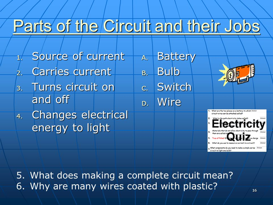 Parts of the Circuit and their Jobs