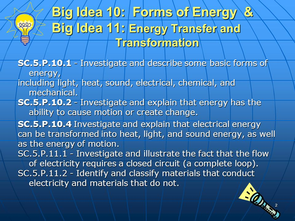 Big Idea 10: Forms of Energy & Big Idea 11: Energy Transfer and Transformation