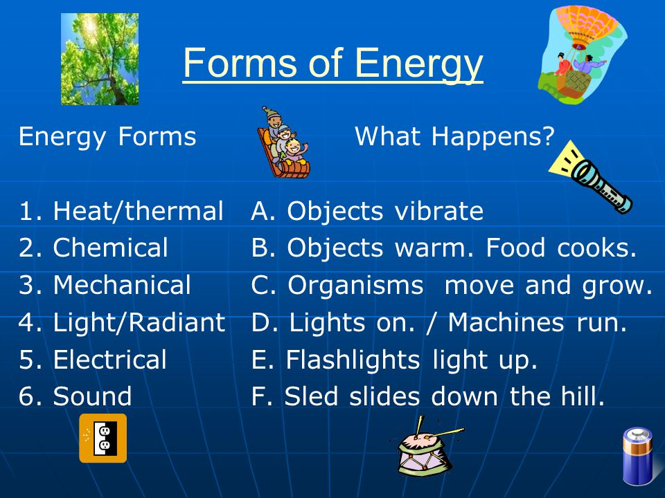 Forms of Energy Energy Forms 1. Heat/thermal 2. Chemical 3. Mechanical
