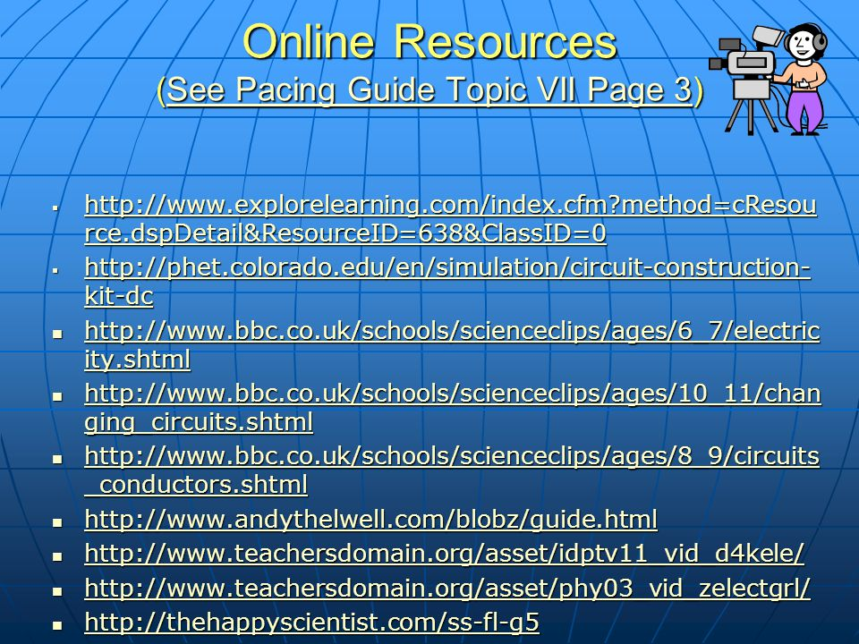 Online Resources (See Pacing Guide Topic VII Page 3)