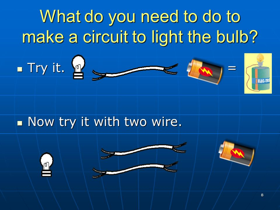 What do you need to do to make a circuit to light the bulb