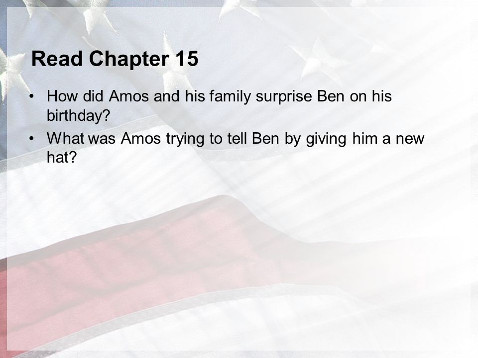 Read Chapter 15 How did Amos and his family surprise Ben on his birthday.