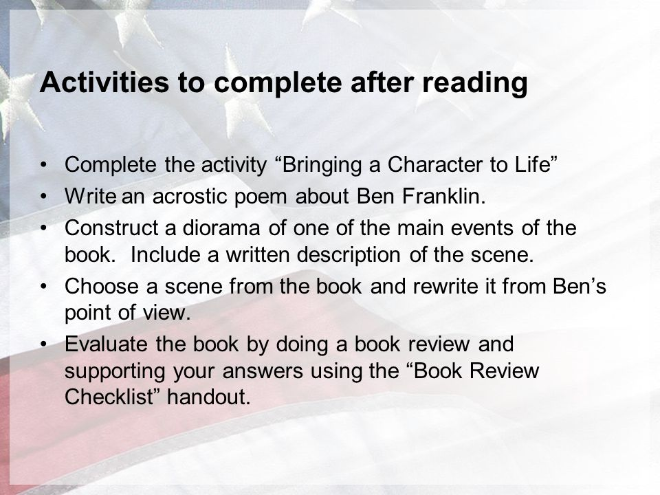 Activities to complete after reading