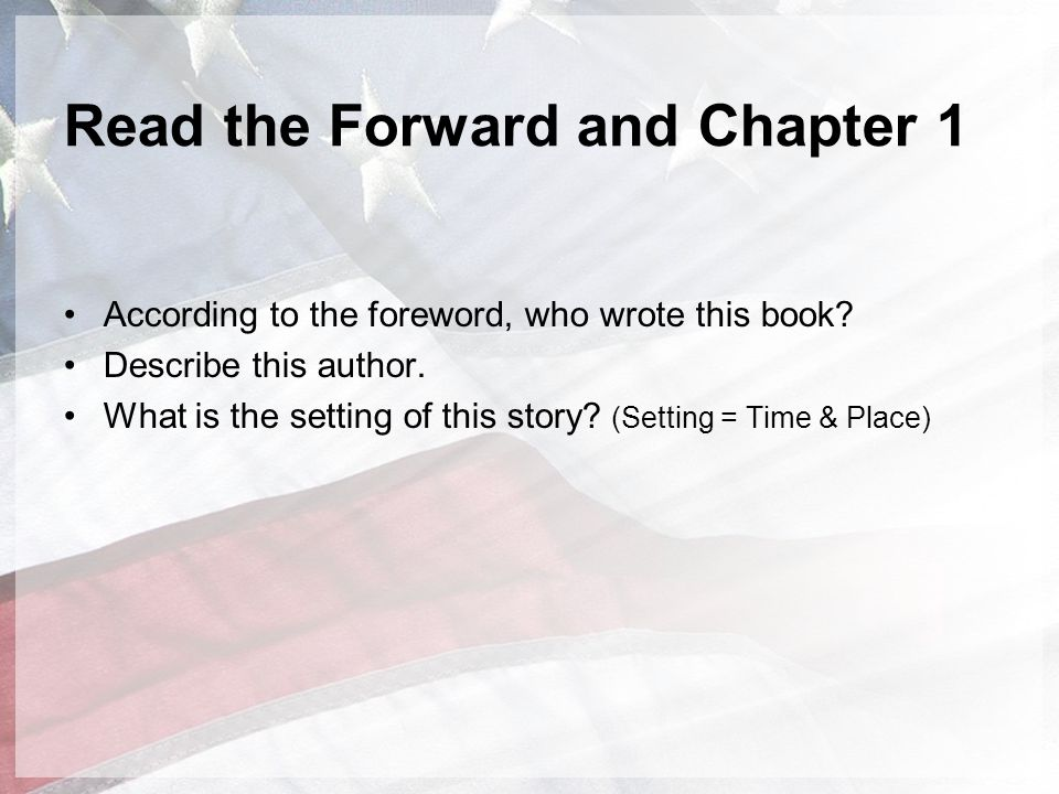 Read the Forward and Chapter 1