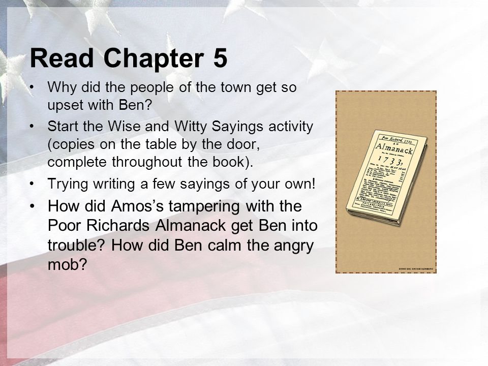 Read Chapter 5 Why did the people of the town get so upset with Ben