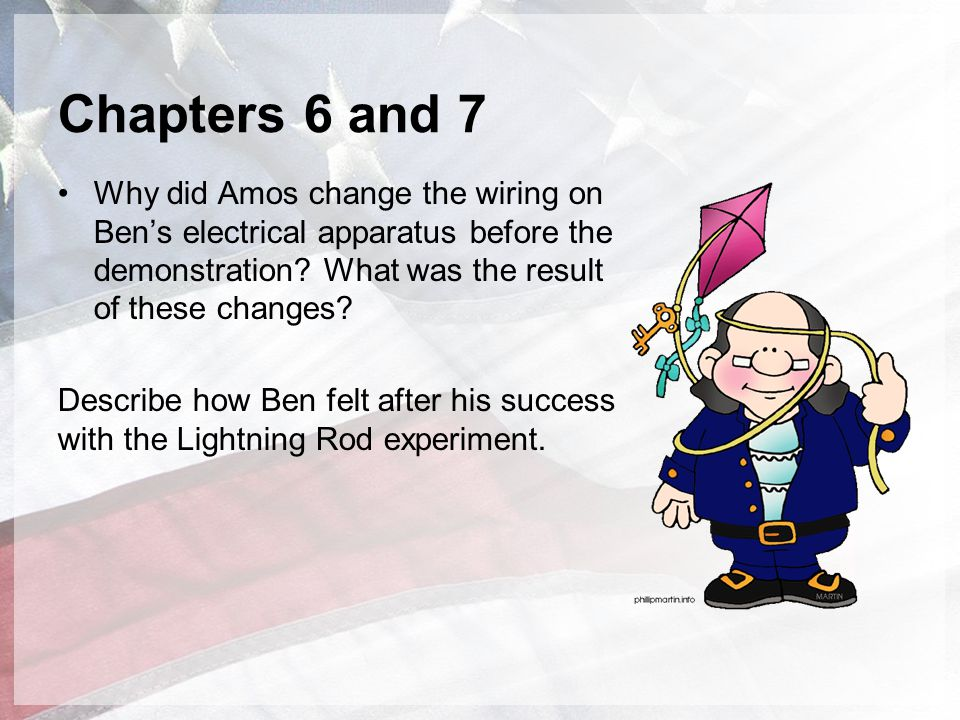 Chapters 6 and 7 Why did Amos change the wiring on Ben's electrical apparatus before the demonstration What was the result of these changes
