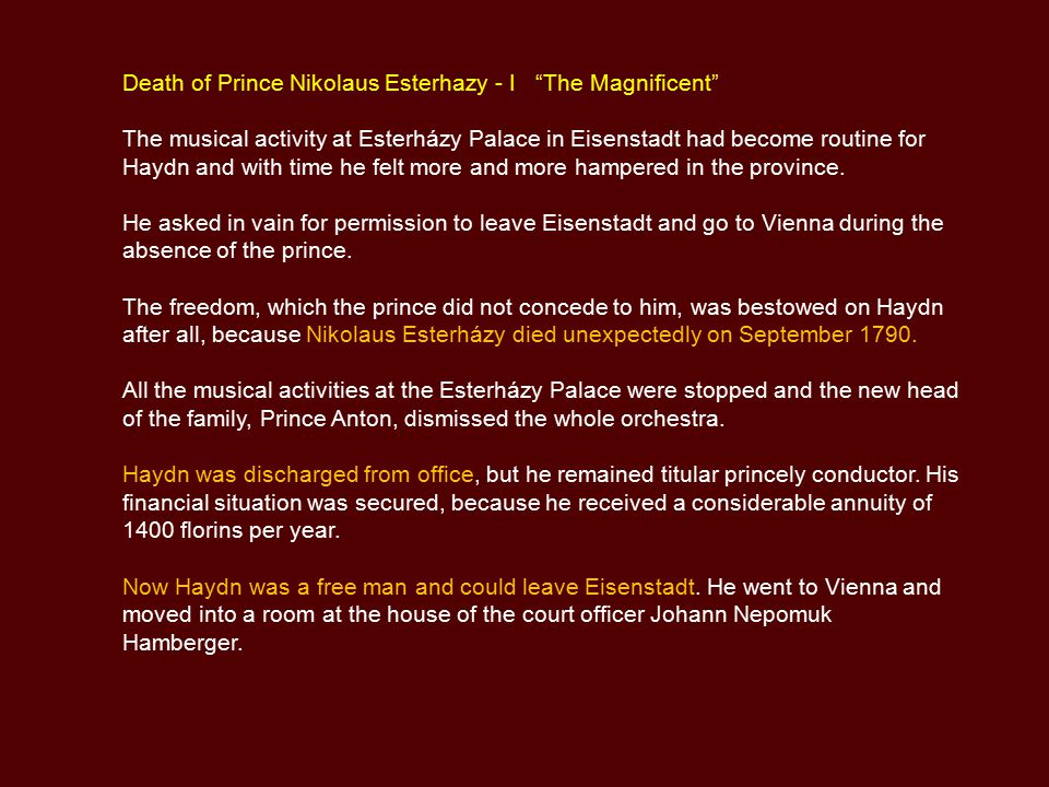 Death of Prince Nikolaus Esterhazy - I The Magnificent