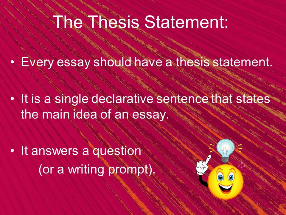 The Thesis Statement: Every Essay Should Have A Thesis Statement.
