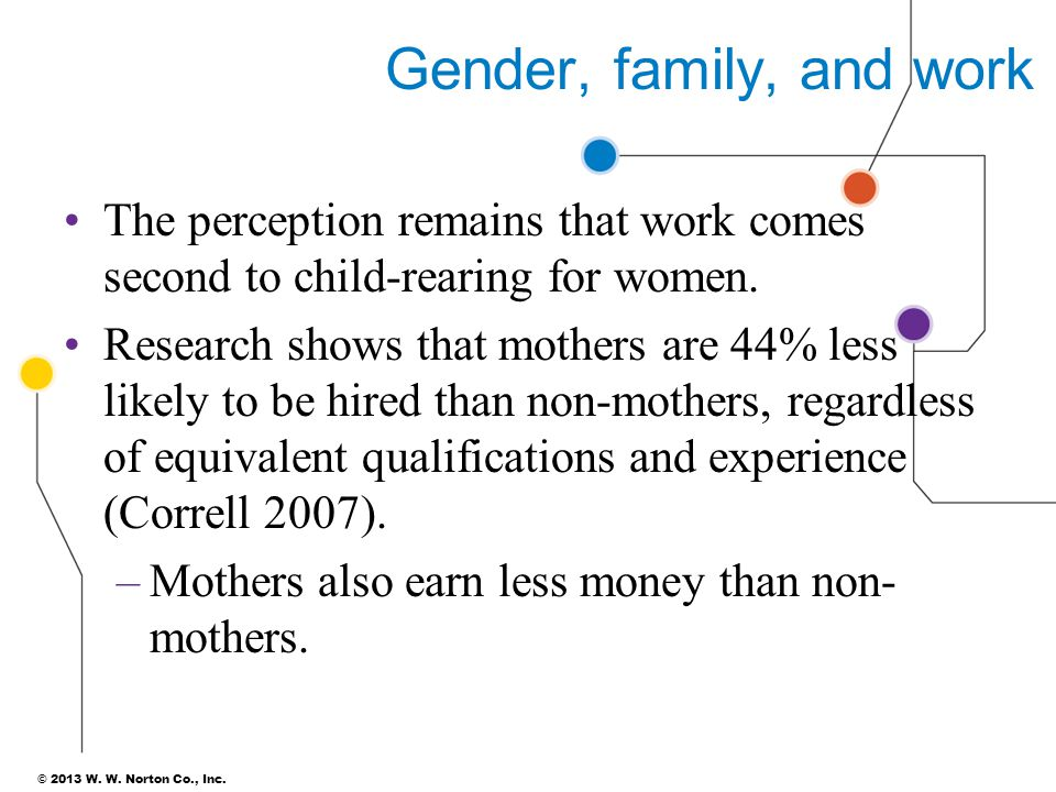 Gender, family, and work The perception remains that work comes second to child-rearing for women.