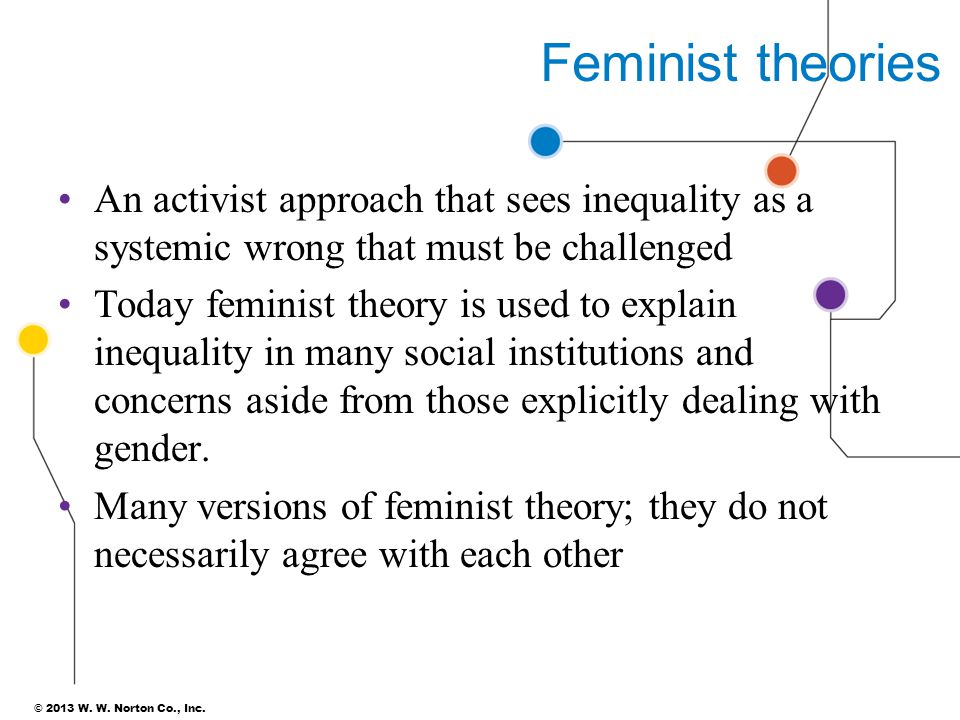 Feminist theories An activist approach that sees inequality as a systemic wrong that must be challenged.