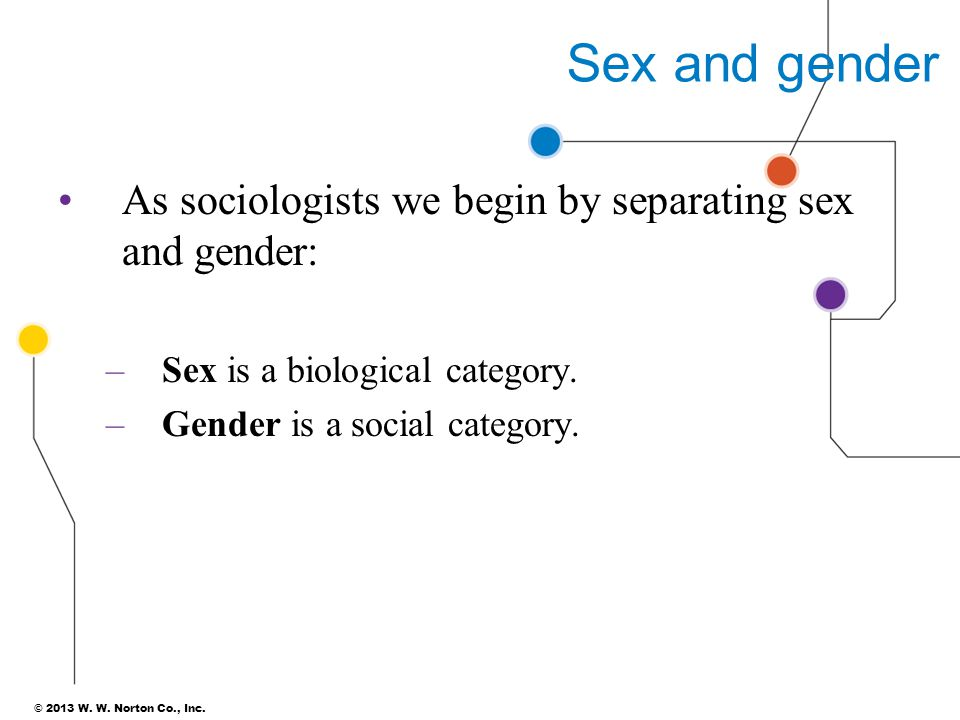 Sex and gender As sociologists we begin by separating sex and gender: