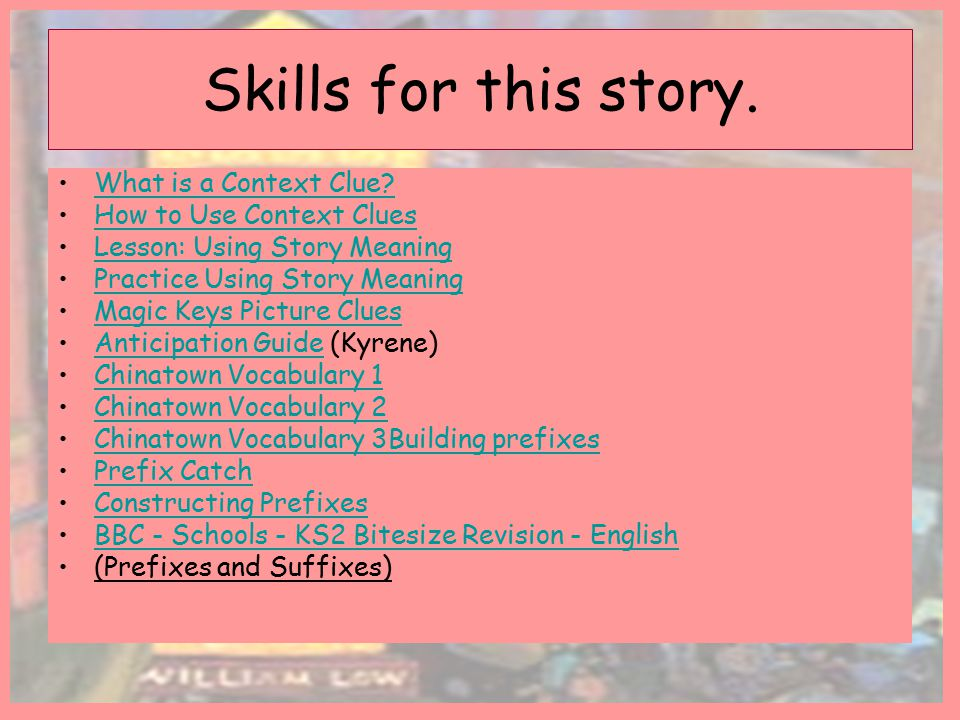 Skills for this story. What is a Context Clue