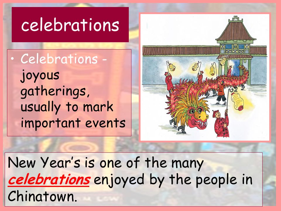 celebrations Celebrations - joyous gatherings, usually to mark important events.