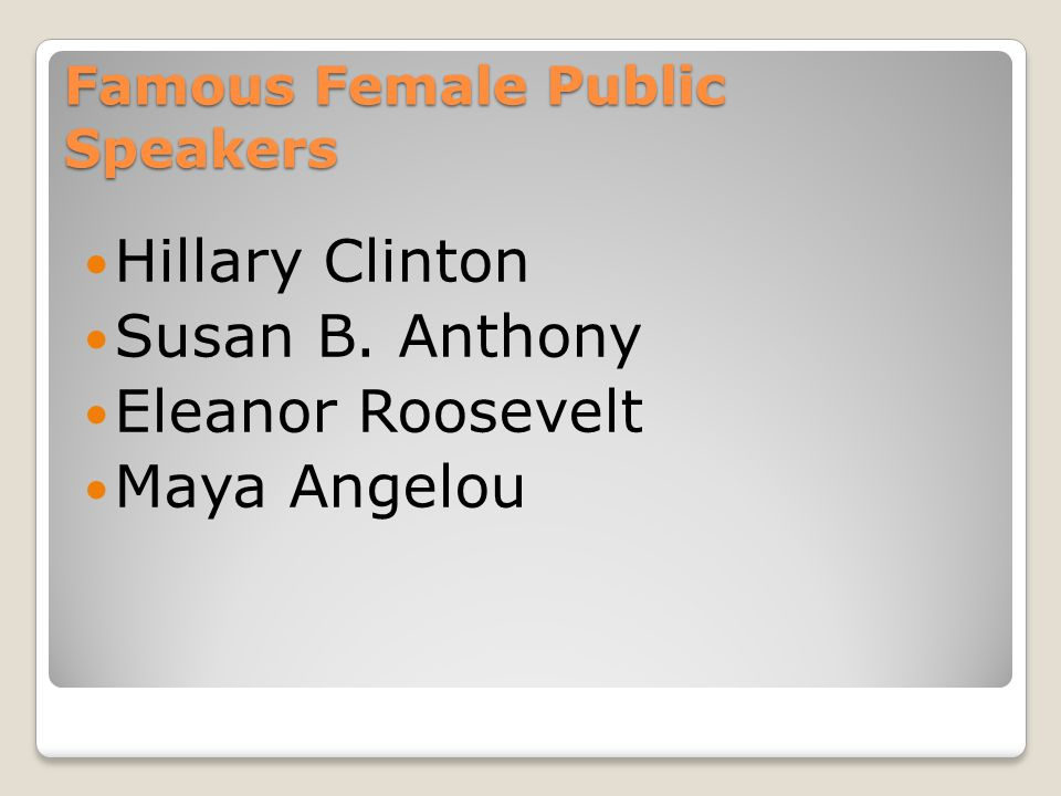 Famous Female Public Speakers