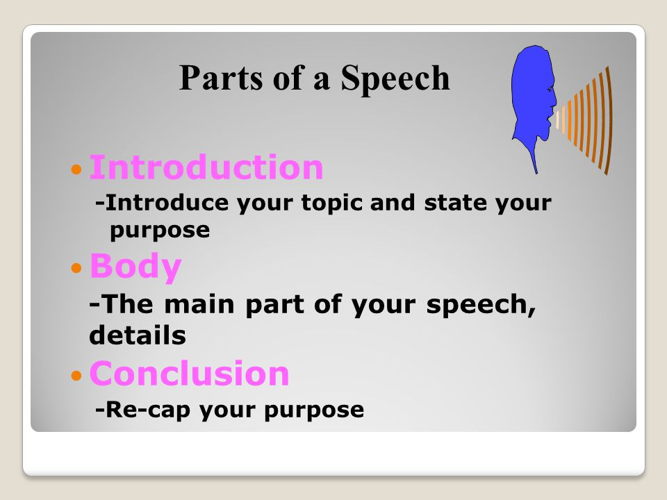 Parts of a Speech Introduction Body Conclusion