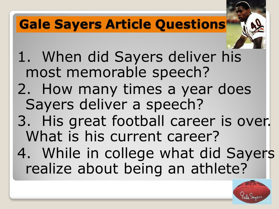 Gale Sayers Article Questions