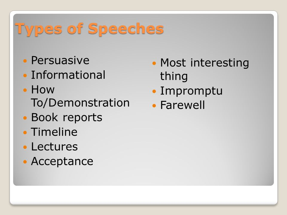 Types of Speeches Persuasive Most interesting thing Informational