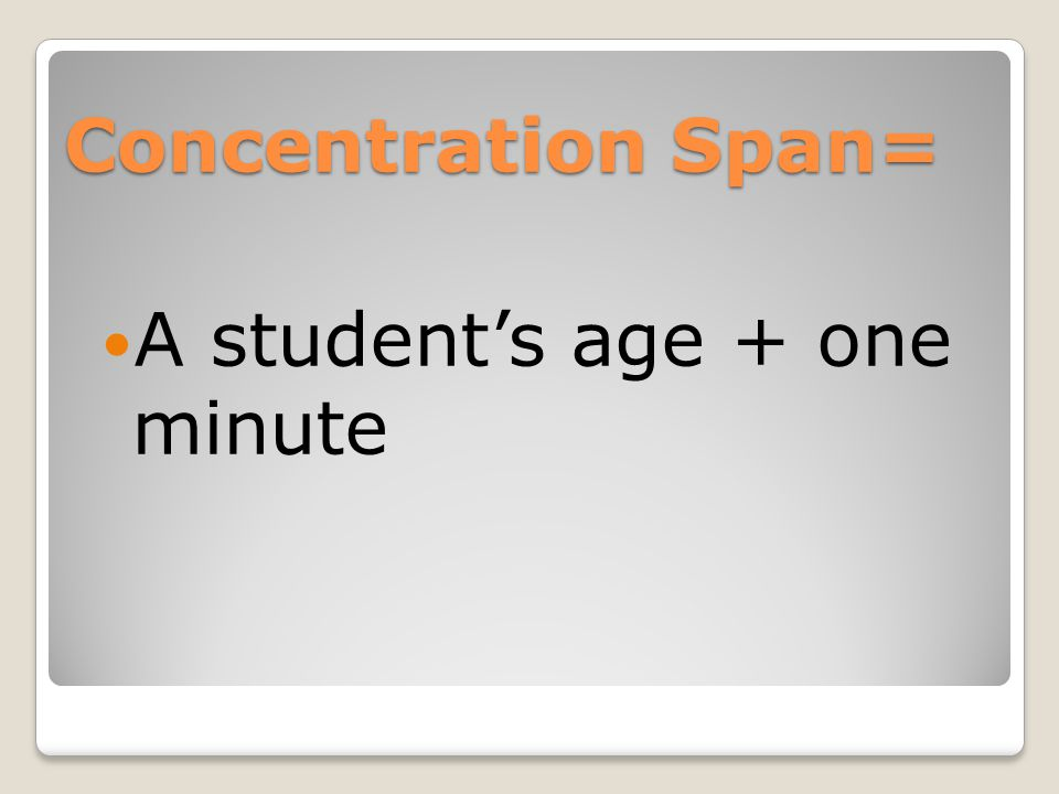Concentration Span= A student's age + one minute