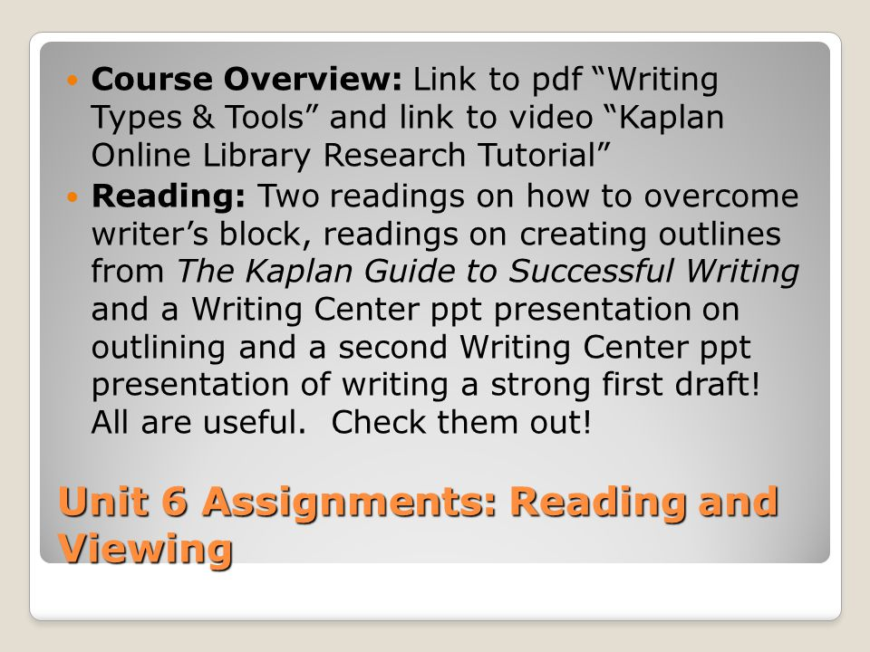 Unit 6 Assignments: Reading and Viewing