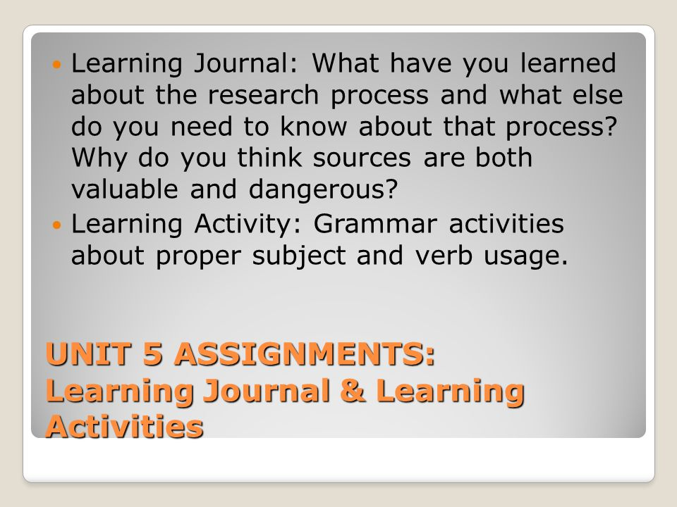 UNIT 5 ASSIGNMENTS: Learning Journal & Learning Activities