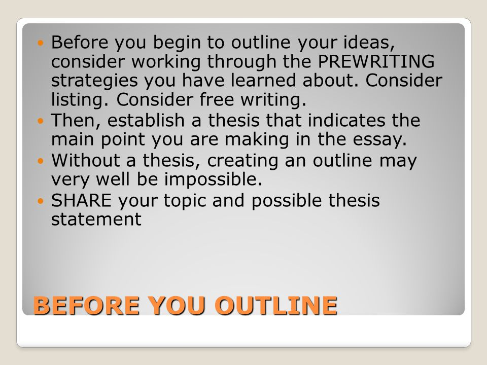 Before you begin to outline your ideas, consider working through the PREWRITING strategies you have learned about. Consider listing. Consider free writing.