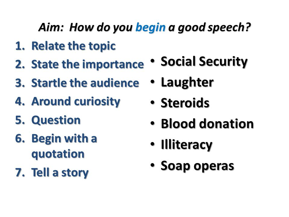 do now here are six speech topics explain how you might relate  aim how do you begin a good speech